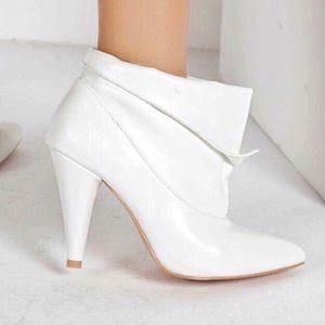 Shoes - NEW! White Leather Booties, Vegan Leather Boot